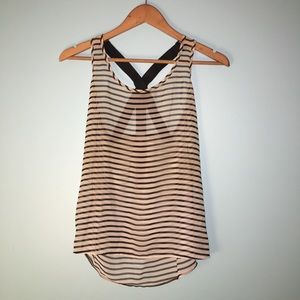 Striped top tank with back zipper